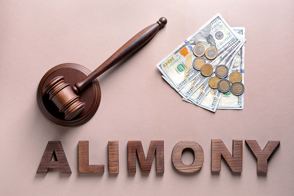 Gavel next to money and the word alimony